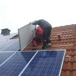 Die letzten Solarmodule der Photovoltaikanlage in Forchheim.